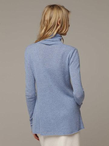 Женский синий джемпер с высоким горлом из 100% кашемира - фото 3