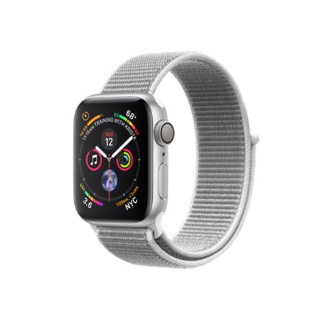 Apple Watch Series 4 GPS, 40mm, корпус из алюминия серебристого цвета, спортивный браслет (Sport Loop) цвета «белая ракушка»