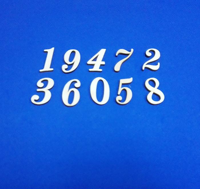 Набор вырубки Цифры 0-9 (10 шт), 3 мм, дерево, высота 3 см.