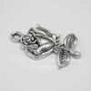"Подвеска ""Роза"" (цвет - античное серебро) 26х18 мм"