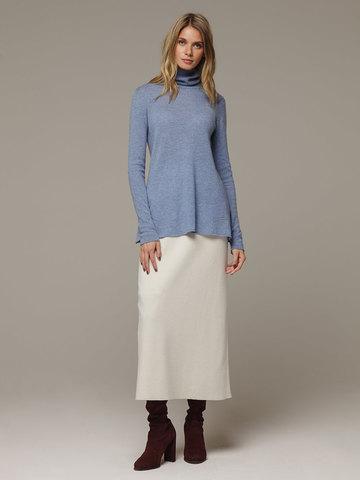 Женский синий джемпер с высоким горлом из 100% кашемира - фото 4