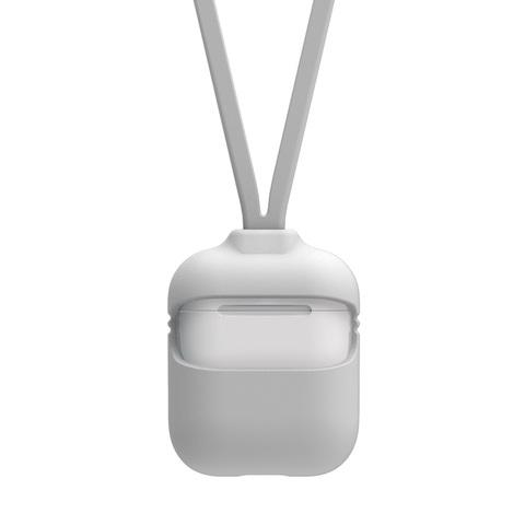 Чехол для Airpods 2 Силиконовый со шнурком (Белый)