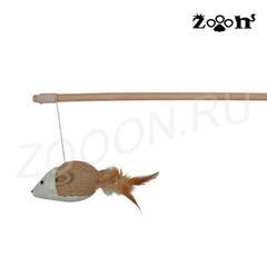 Trixie удочка с мышкой на веревке из текстиля и перьев 50 см