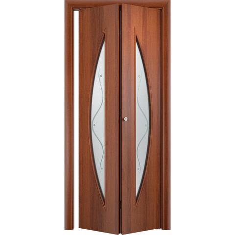 Складная дверь Парус итальянский орех со стеклом (фьюзинг)