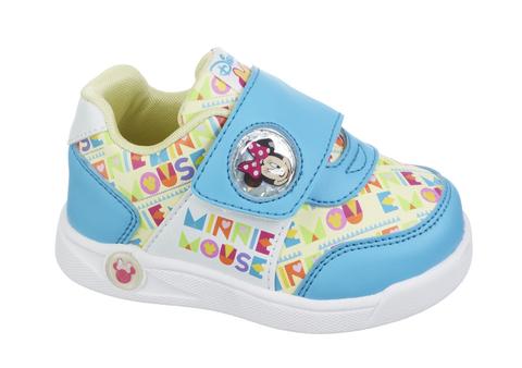 Кроссовки Минни Маус (Minnie Mouse) на липучке для девочек, цвет голубой белый. Изображение 1 из 8.