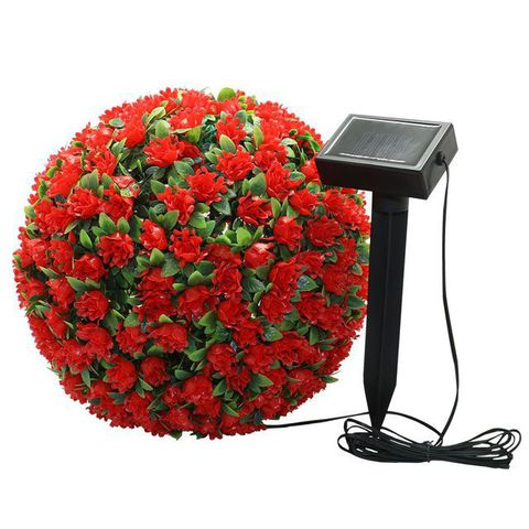 Светильник садово-парковый на солнечной батарее «Цветочный шар», красный, 20 LED (белый ), D 28 см E5209 (Feron)