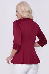 """Женственная блуза приталенного силуэта, по бедрам баска. Рукав 3/4, ворот """"стойка"""", по спинке замок. Отличный вариант для модниц!"""