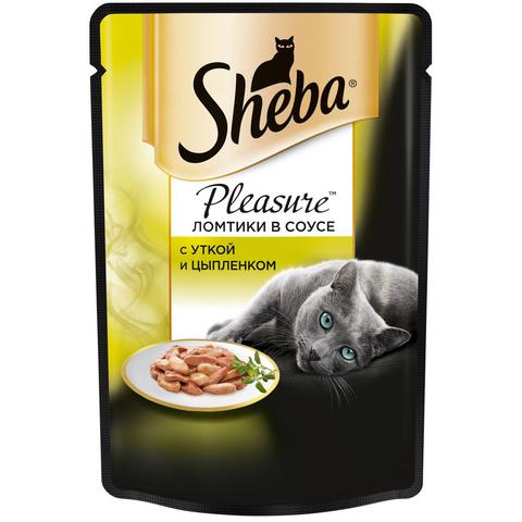 Sheba Pleasure пауч для кошек ломтики в соусе утка и цыпленок 85 г