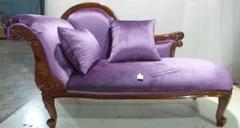 Софа MK-2499-IVB (MK-2499-NMP) Итальянский орех/Фиолетовый велюр