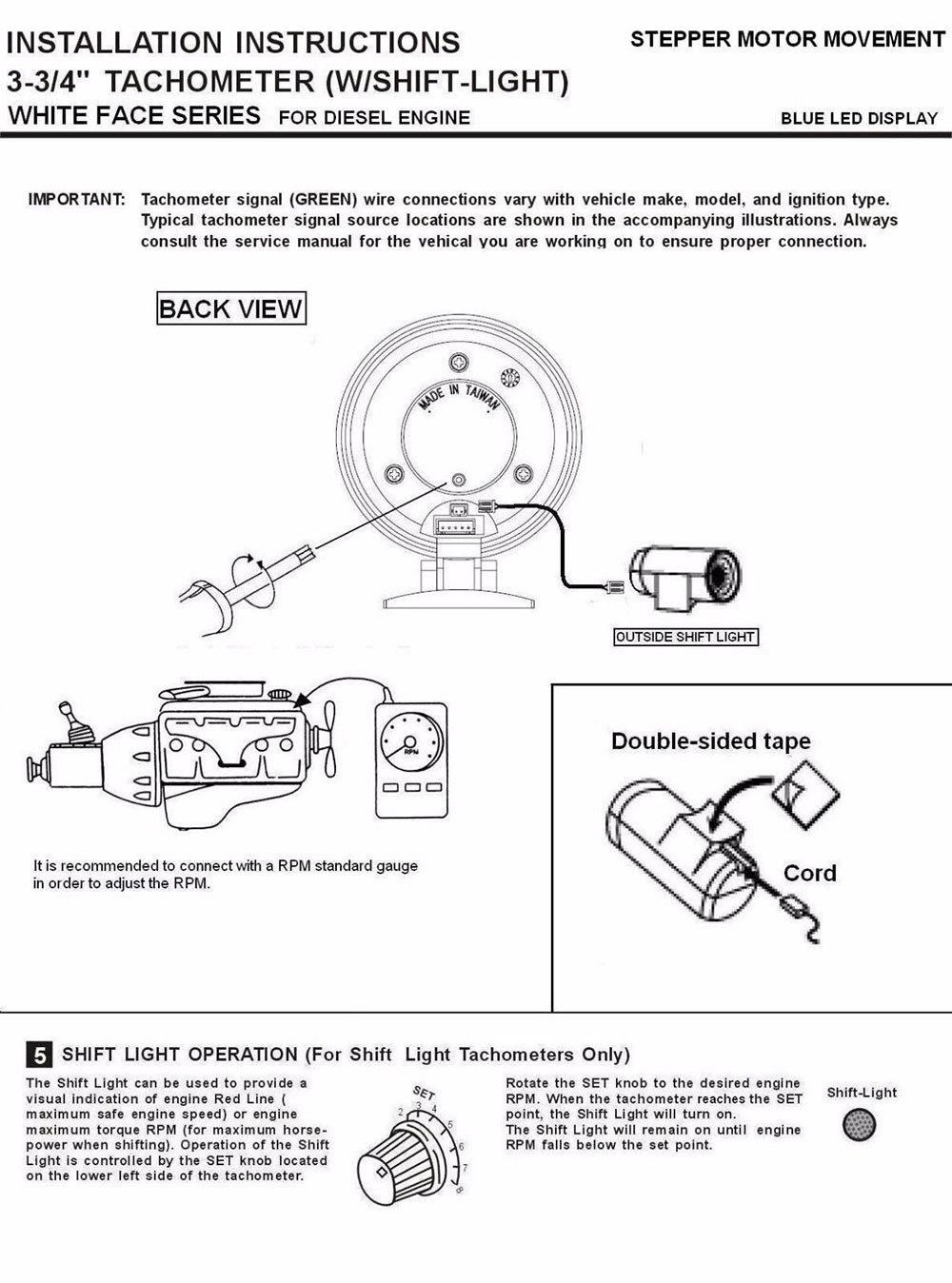 Часть инструкции по подключению тахометра на дизель