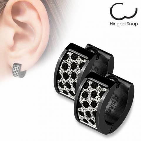 Оригинальные красивые стильные серьги кольцами женские чёрные с алмазным блеском и чёрными цирконами SPIKES SEZ-18