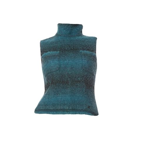 Стильный топ из твида бирюзового цвета от Chanel, 38 размер.
