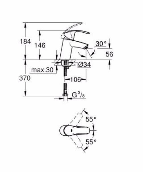 Комплект смесителей с душем GROHE Eurosmart+Grohtherm 800 124422