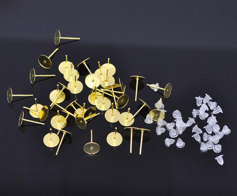 Пуссеты - гвоздики с круглой площадкой 8 мм (цвет - золото) 5 пар (с заглушками) (B11064C)