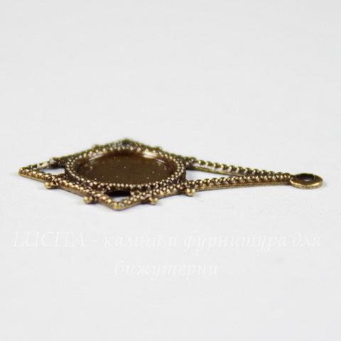 """Сеттинг - основа - подвеска """"Ромбик"""" для камеи или кабошона 7 мм (оксид латуни)"""