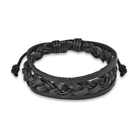 Браслет из натуральной кожи и вощёного шнура SPIKES SL0087-K+