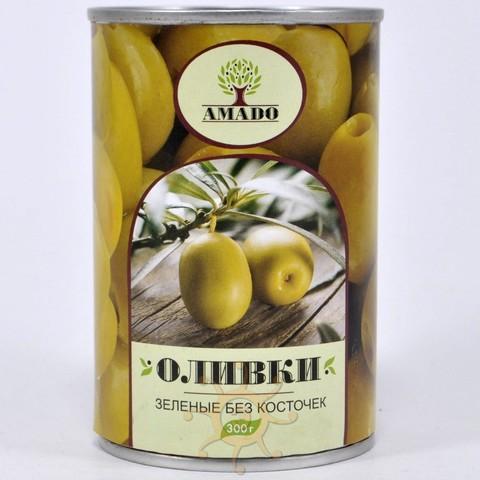 Оливки зеленые без косточек в ж/б Амадо, 300г