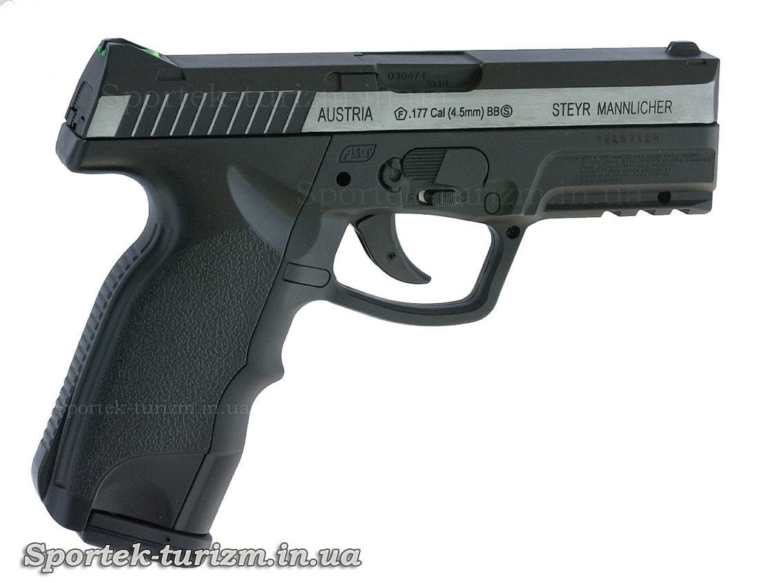 Вид справа на пневматический пистолет ASG Steyr M9-A1 4,5мм с никелевой вставкой