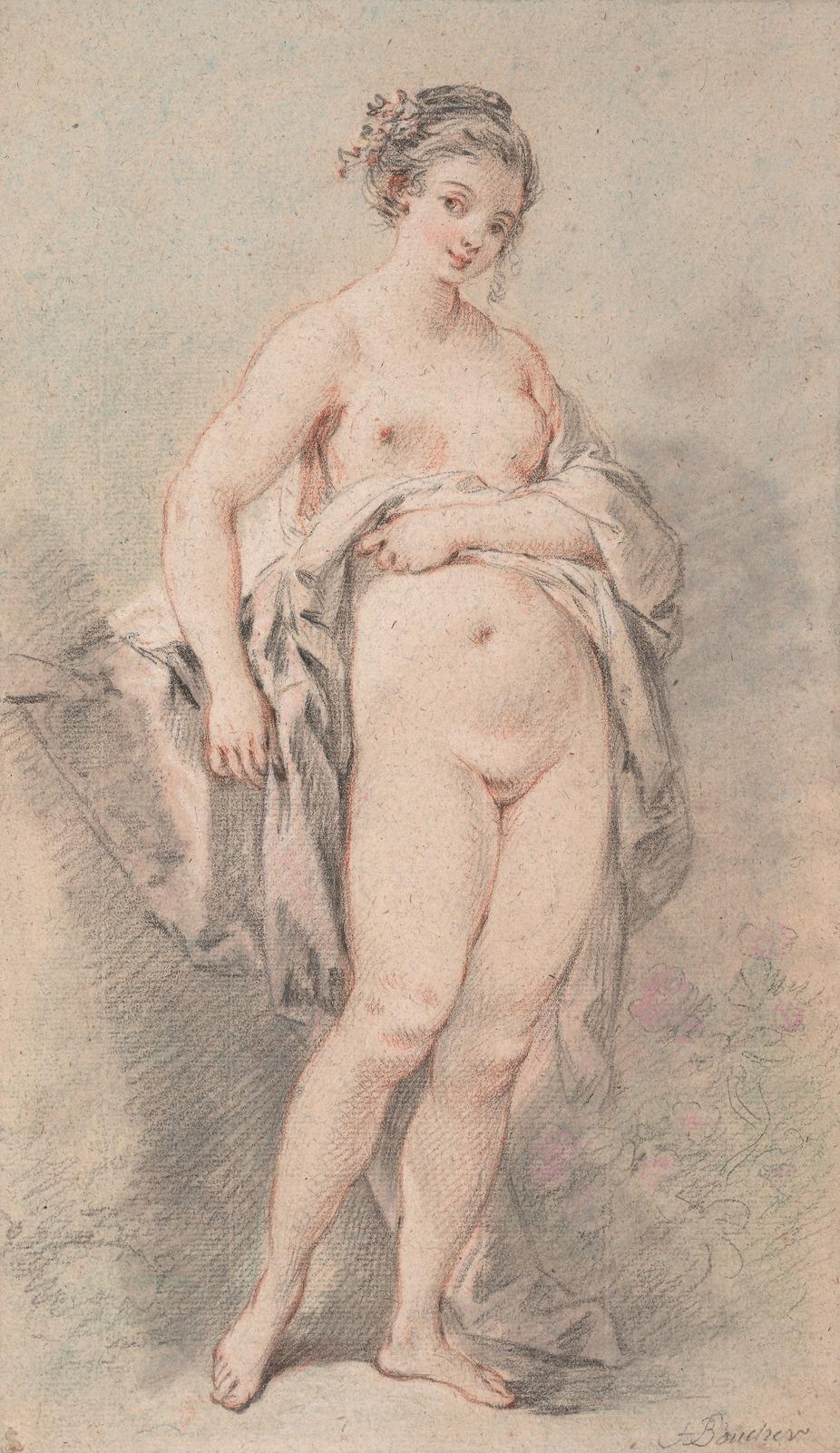 Франсуа Буше. Стоящая обнажённая (Standing Nude Girl). 34.7 х 20. Чёрный и белый мел, красный, зелёный и фиолетовый пастельный карандаш. Вена, Альбертина.