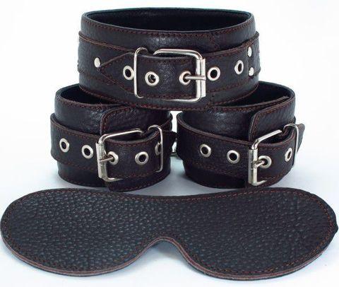 Набор БДСМ-аксессуаров из мягкой кожи черного цвета