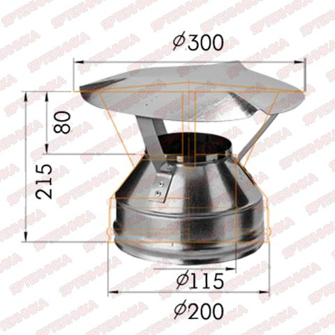 Оголовок d115х200мм (430/0,5мм+оцинк) Ferrum
