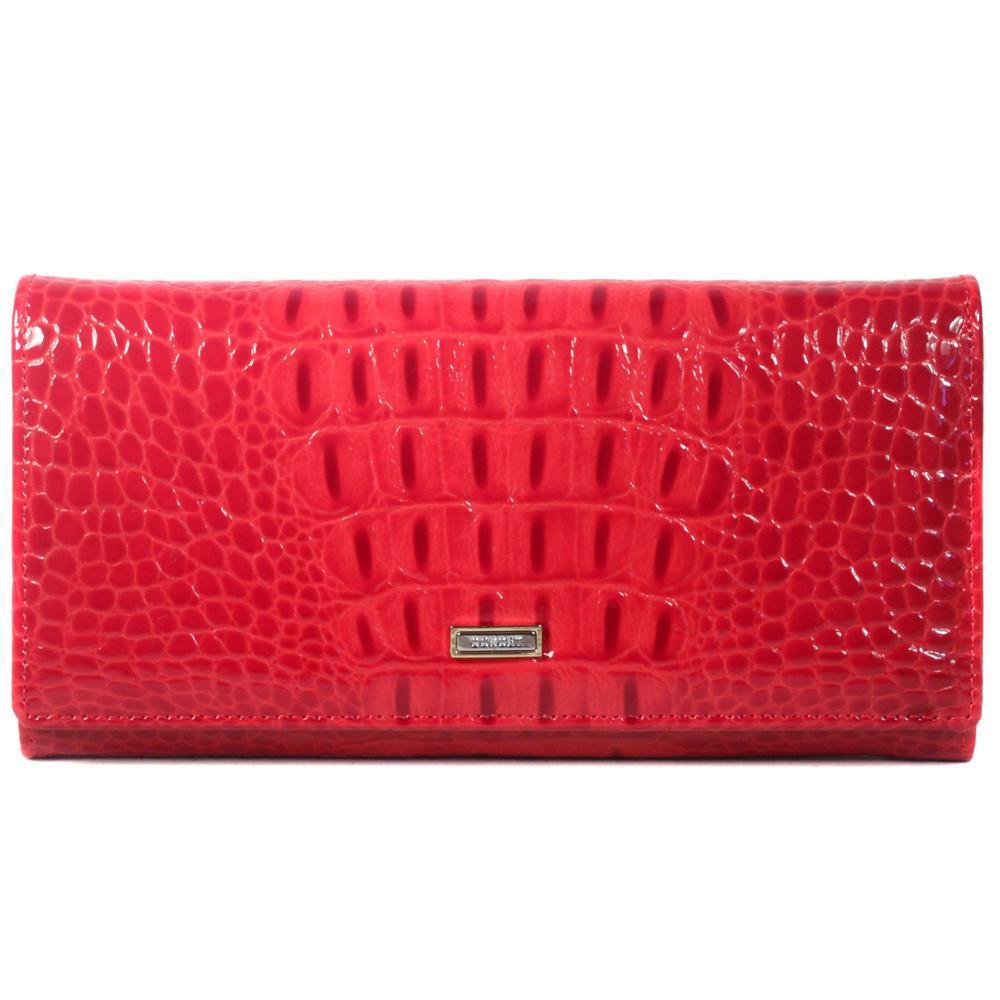 Красный кошелёк женский лаковый Coscet нат.кожа CS21-201B