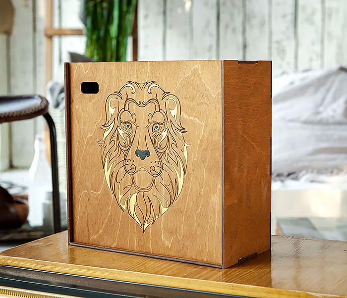 BOX252-2 Большая подарочная коробка ручной работы со львом (25*25*12 см) фото 02
