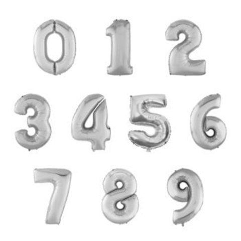 Шар цифра серебряная