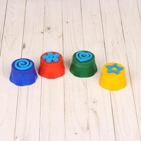 Пальчиковые краски со штампиками, 4 шт 2