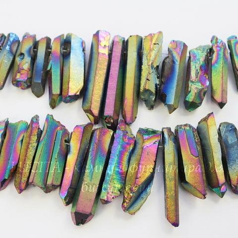 Бусина Кварц (тониров), продолговатая, цвет - бензиновый, 20-50 мм, нить