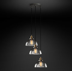 20th C. Factory Filament Clear Glass Dome Round Pendant