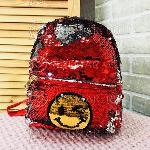 Рюкзак с пайетками с двусторонними пайетками нашивкой Смайлик меняет цвет Красный-Серебристый