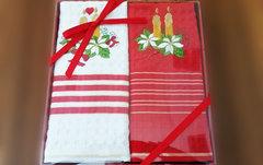 Набор вафельных салфеток Новый год ДВЕ СВЕЧИ 2пр 45х70  La Villa Турция