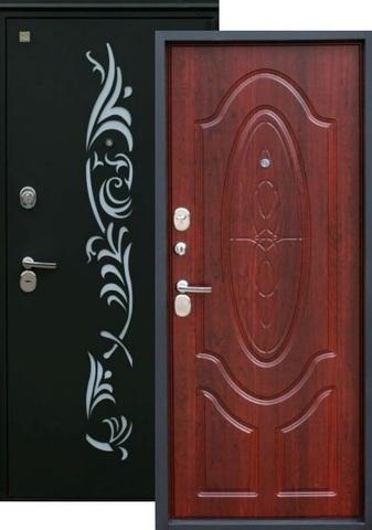 Дверь входная Зевс Z-7, 2 замка, 2 мм  металл, (чёрный шёлк+махагон)