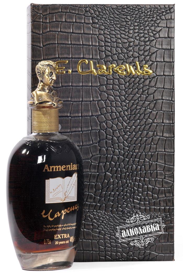 Коньяк армянский Чаренц EXTRA 20 лет 0,75л с металлической скульптурной композицией+кожа аллигатора