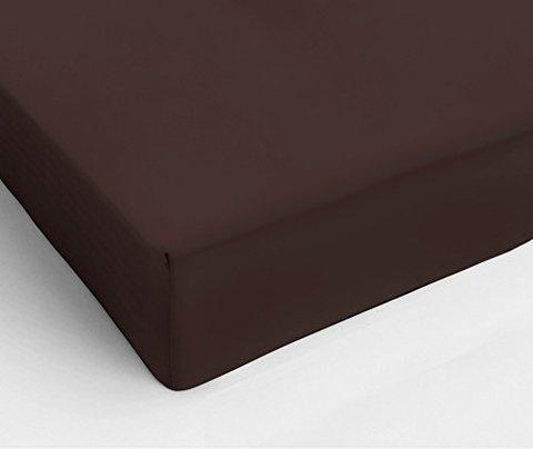 Простыня на резинке 200x200 Сaleffi Tinta Unito перкаль темно-коричневая