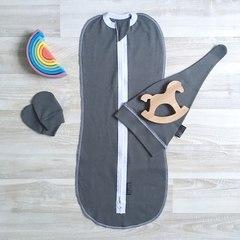 MamaPapa. Комплект Steel Grey Set с коконом, шапочкой, антицарапками