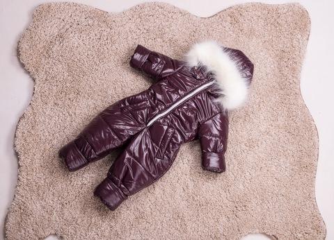 Зимний комбинезон детский цельный Look бордовый блеск