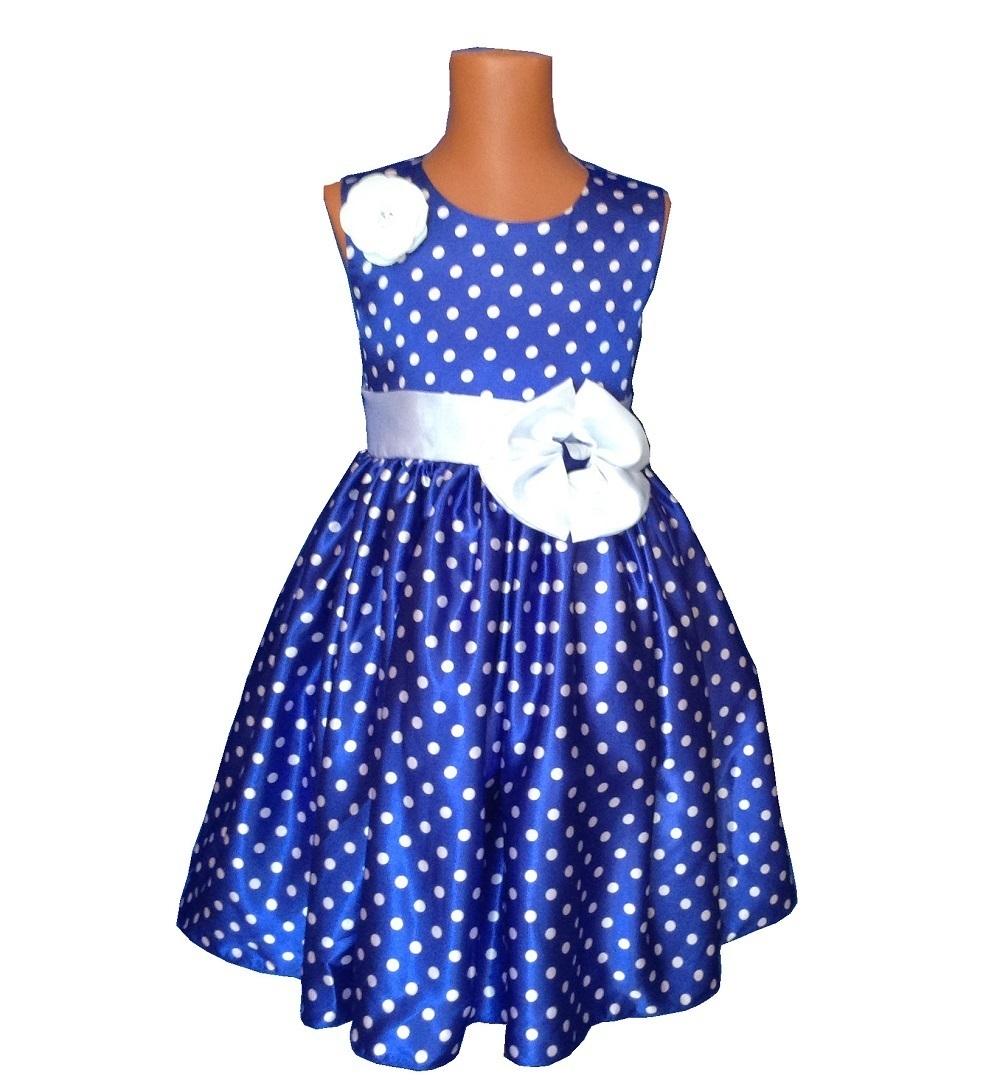 d6c89cb65c3 Детское нарядное Платье синее в горох с цветком - купить недорого в ...