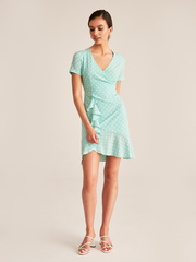Платье мини с оборкой