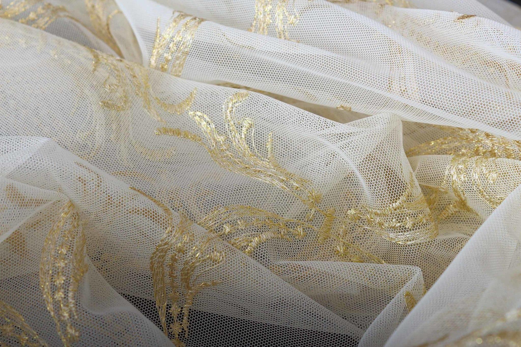 Микросетка с вышивкой Милана (золото)