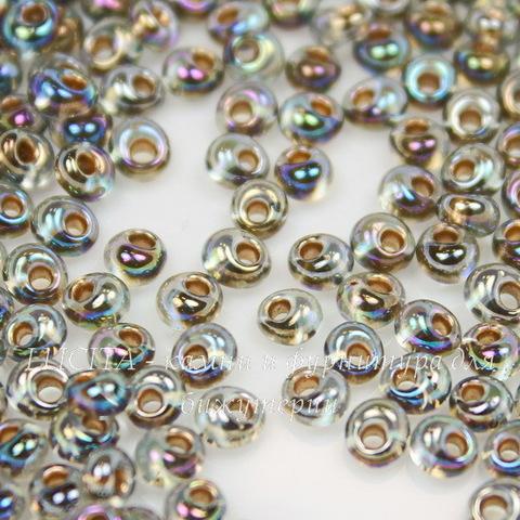 0999 Бисер японский TOHO Magatama 3 мм, радужный черный алмаз с позолотой внутри