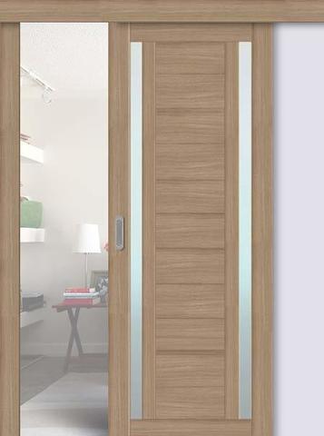 Дверь раздвижная La Stella 203, стекло матовое, цвет тиковое дерево, остекленная