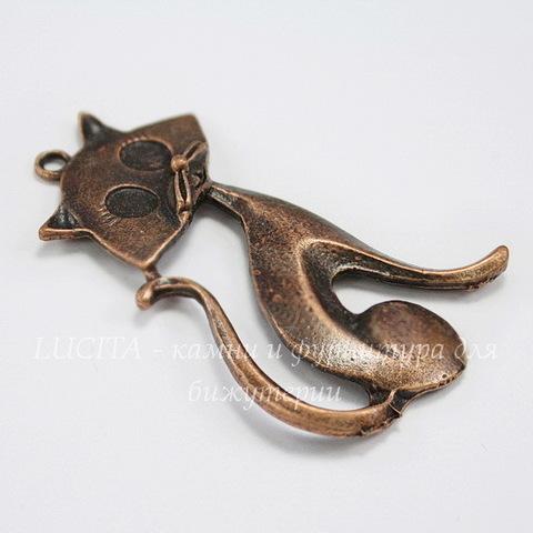 """Подвеска """"Кошка"""" (цвет - античная медь) 48х31 мм"""