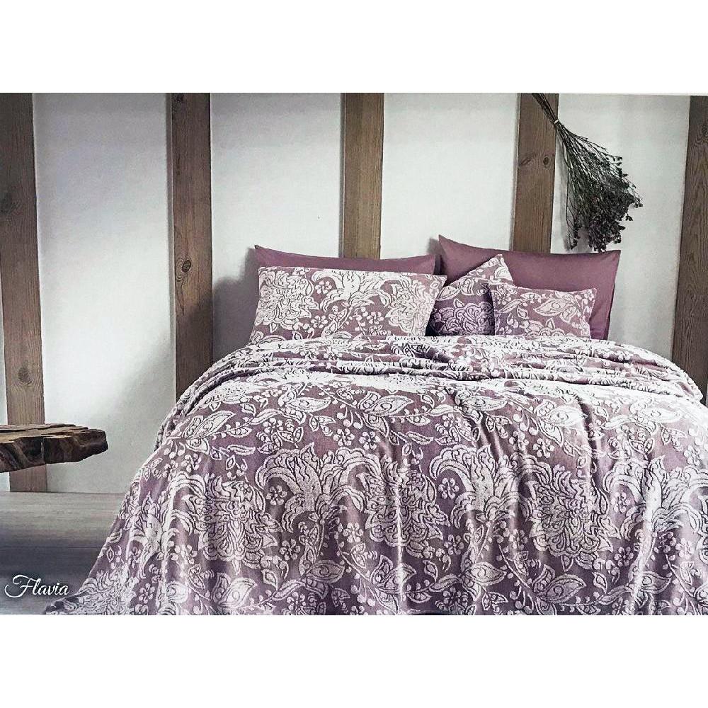 Простыни махровые Покрывало пике  FLAVIA лиловый TIVOLYO HOME Турция flavia-lila.jpg