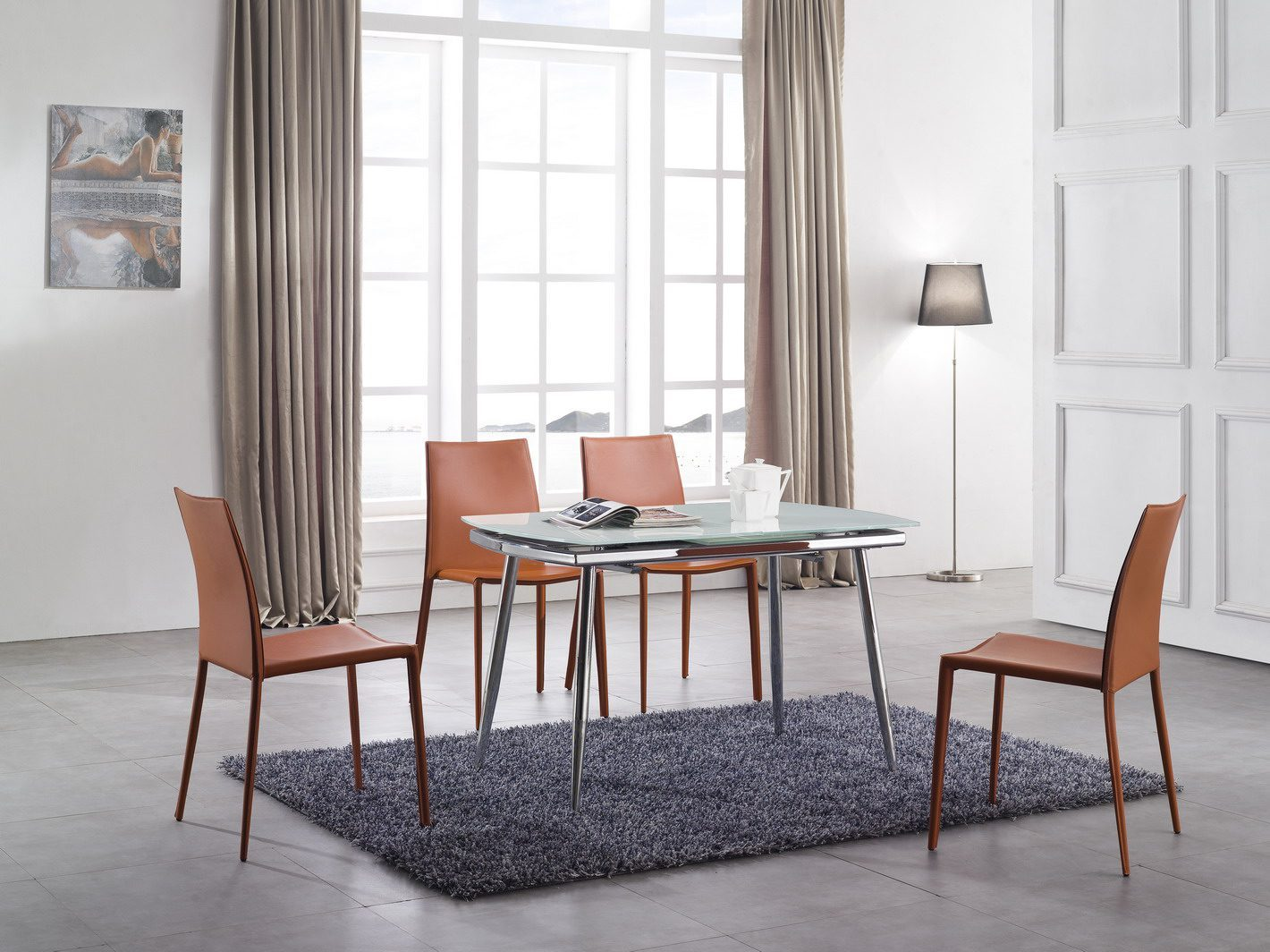 Стол ESF LT6230 белый, стул ESF 3018 оранжевый