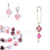 Серьги, ожерелье, брошь (комплект украшений Bella розово-фиолетовый)
