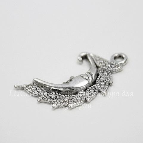 "Подвеска ""Месяц"" (цвет - античное серебро) 27х15 мм"