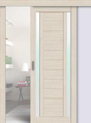 Дверь раздвижная La Stella 203, стекло матовое, цвет ясень латте, остекленная