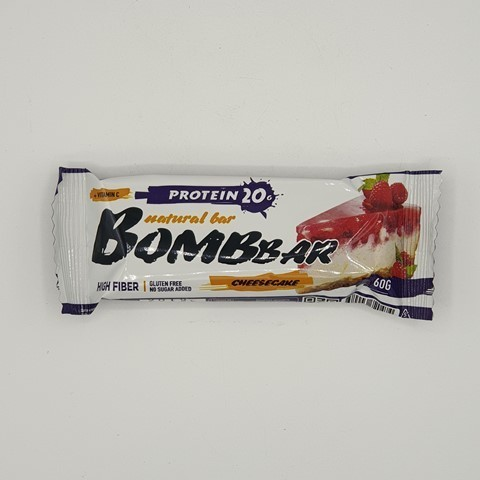 Батончик Natural Bar вкус Малиновый чизкейк BOMBBAR, 60 гр